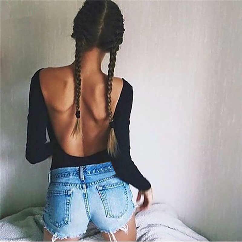 2019 Herfst Met Lange Mouwen O-hals Skinny Bodysuit Sexy Backless Mouwloze Vrouwen Zwart Rood Solid Sexy Pak Party Beach Club