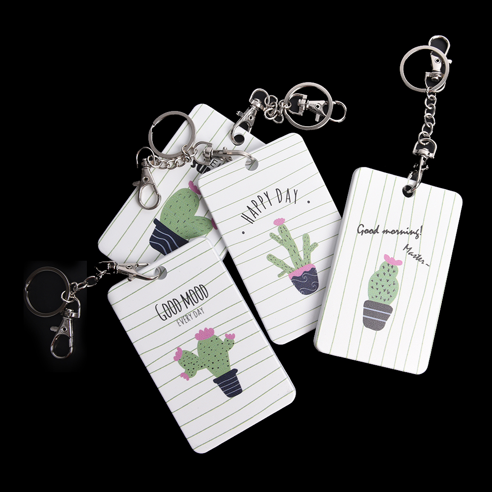 1PCS Cactus Badge Holder Bus Cards Holder High Quality Student Transport ID IC Card Sets With Key Chain Ring for Card