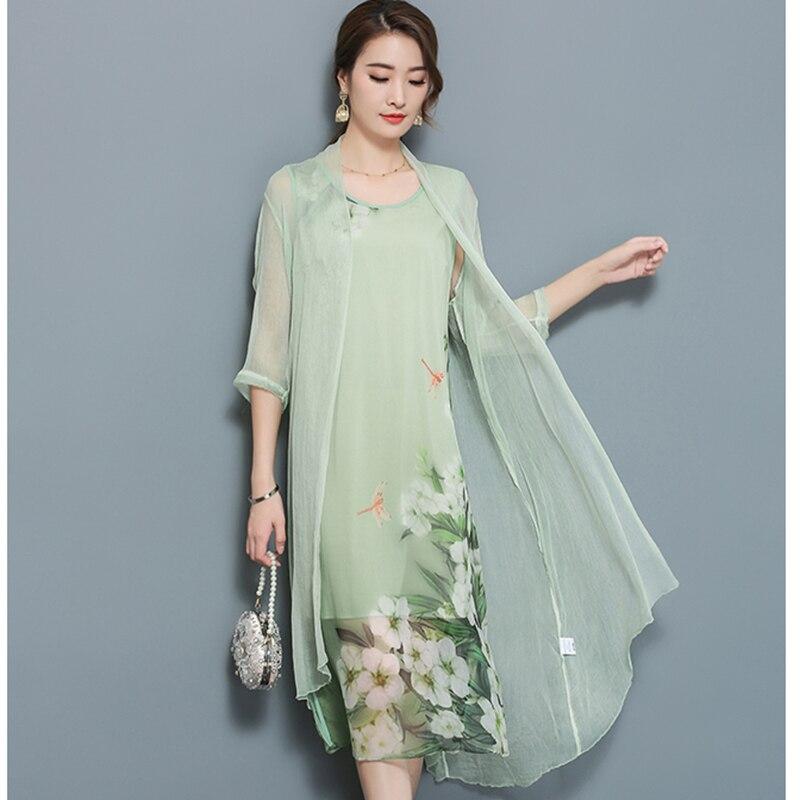 D'âge moyen des femmes d'été nouvelle mousseline de soie robe longue plus la taille 3XL plage casual mère de deux-pièce imprimer fleur lâche robe QH1381