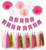 Folha Borlas Decor Papel Tissue Pom poms Festa de aniversário Do Chuveiro de Bebê Da Menina do Menino Feliz Aniversário Bandeira Do Partido Dos Miúdos Favores Suprimentos