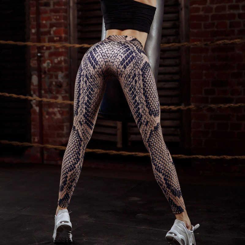 0dedf640488db Push Up Leggings Women High Waist Legings Polyester Ankle-Length Jeggings Snakeskin  Printing Fitness Streetwear