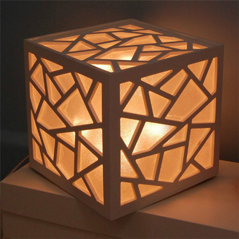 studio lamp lighting environmental safety wood white table lamp wood carving square fire waterproof night light ZA1120554