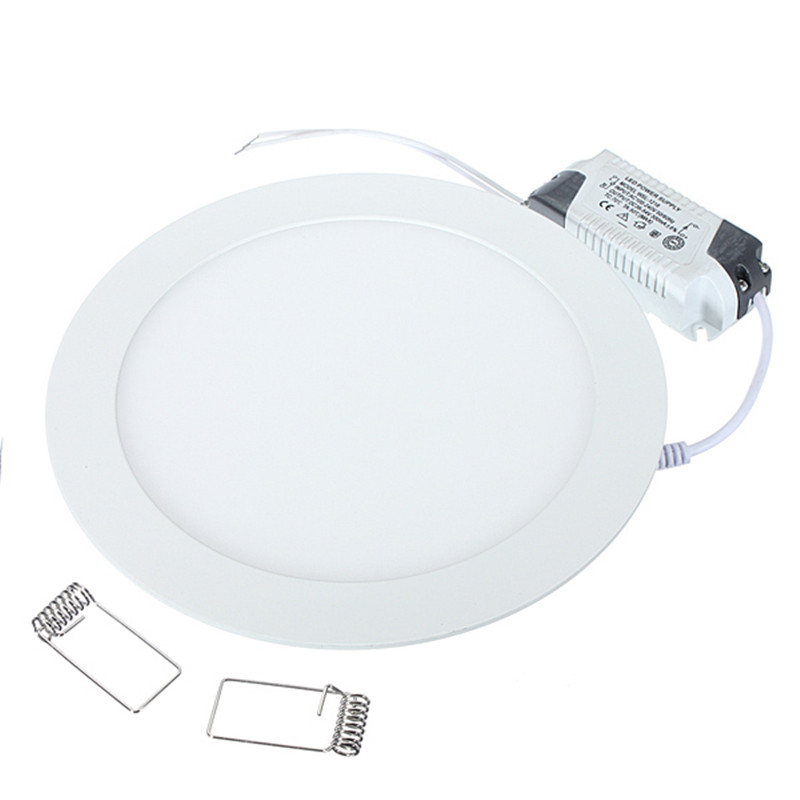 1 unids/lote de luz LED de Panel de rejilla empotrada de techo regulable ultradelgada 3 W/4 W/6 W/9 W/12 W/15 W/25 W/lámpara de Panel redondo Delgado
