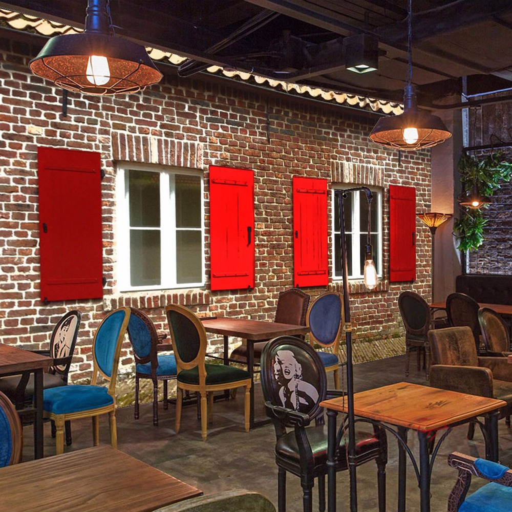 Retro brick wall mural wallpaper custom 3d murals - Living room cafe menu philadelphia ...