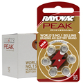 60 PCS Rayovac PEAK High Performance Hearing Aid Batteries. Zinc Air 312/A312/PR41 Battery for BTE Hearing aids. Free Shipping!
