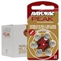 60 PCS Rayovac PEAK High Performance Hearing Aid Batteries. Zinc Air 312/A312/PR41 Battery for BTE Hearing aids. Free Shipping!