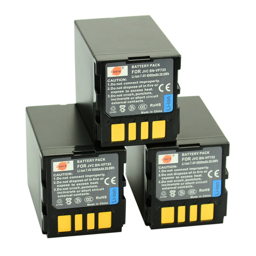 DSTE 3PCS BN-VF733 Rechargeable Battery for JVC GZ-D270 GR-D270US GR-DF450 GZ-DF420 GR-D271 GZ-DF470 GR-D271US Camera 4450mah bn vg138 bn vg138 camera battery for jvc gz e10 e100 e245 e265 e565 e575 g3 gx1 gx3 g5 gx8 ex210 ex250ac ex275 ex355