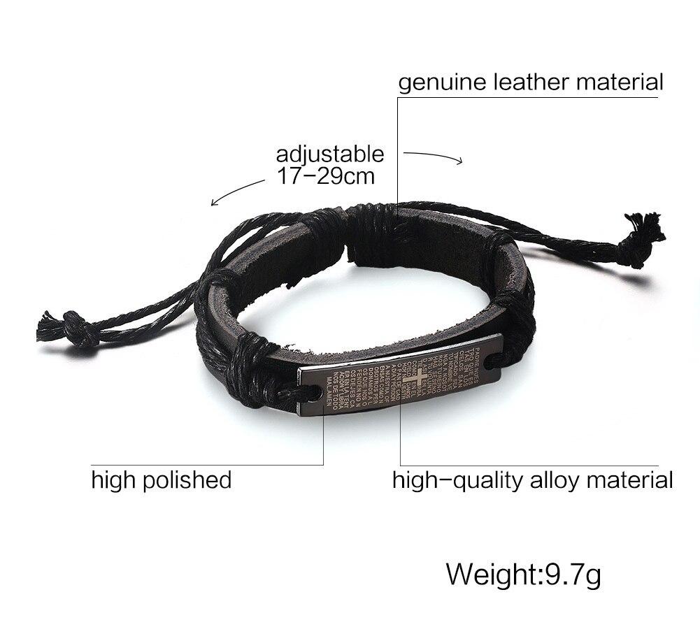 Vintage Bible Scripture Cross Leather Bracelet for Men Drawstring  Adjustable Brown Christian Mens Jewelry