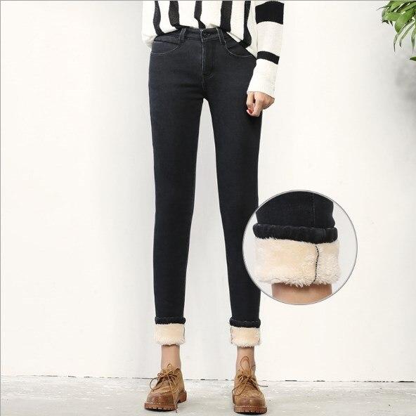 Высокая талия Стройный толстые джинсы зимняя женская обувь Push Up джинсовые узкие брюки женские теплые кашемировые с флисовой подкладкой стр