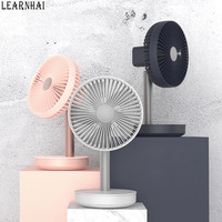 LEARNHAI 2019 New Arrival P19 4 Gear Adjustable Wind Float Head Desktop Fan With Power Bank For Charge Mobile Phone For Home