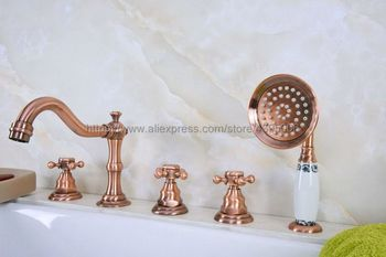 Bathtub Faucet Widespread 3 Cross Handles Roman Tub Faucet 5 Holes Deck Mount Bath Tap with Handshower Btf221