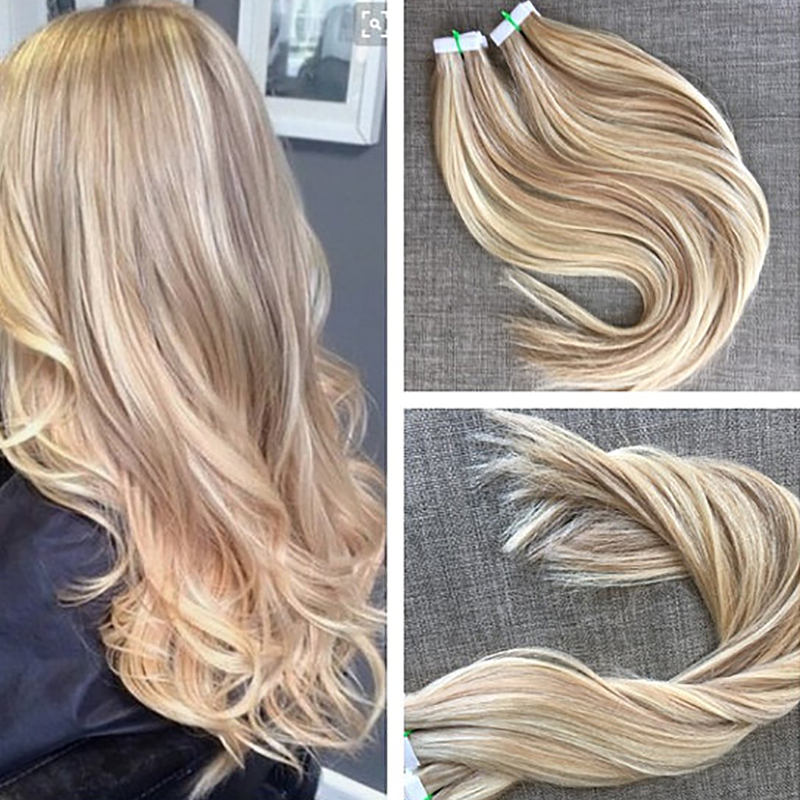 Tape in extensions picture more detailed picture about tape in tape in extensions highlight blonde 12613 human hair extensions 40pcs100g two tone pmusecretfo Gallery