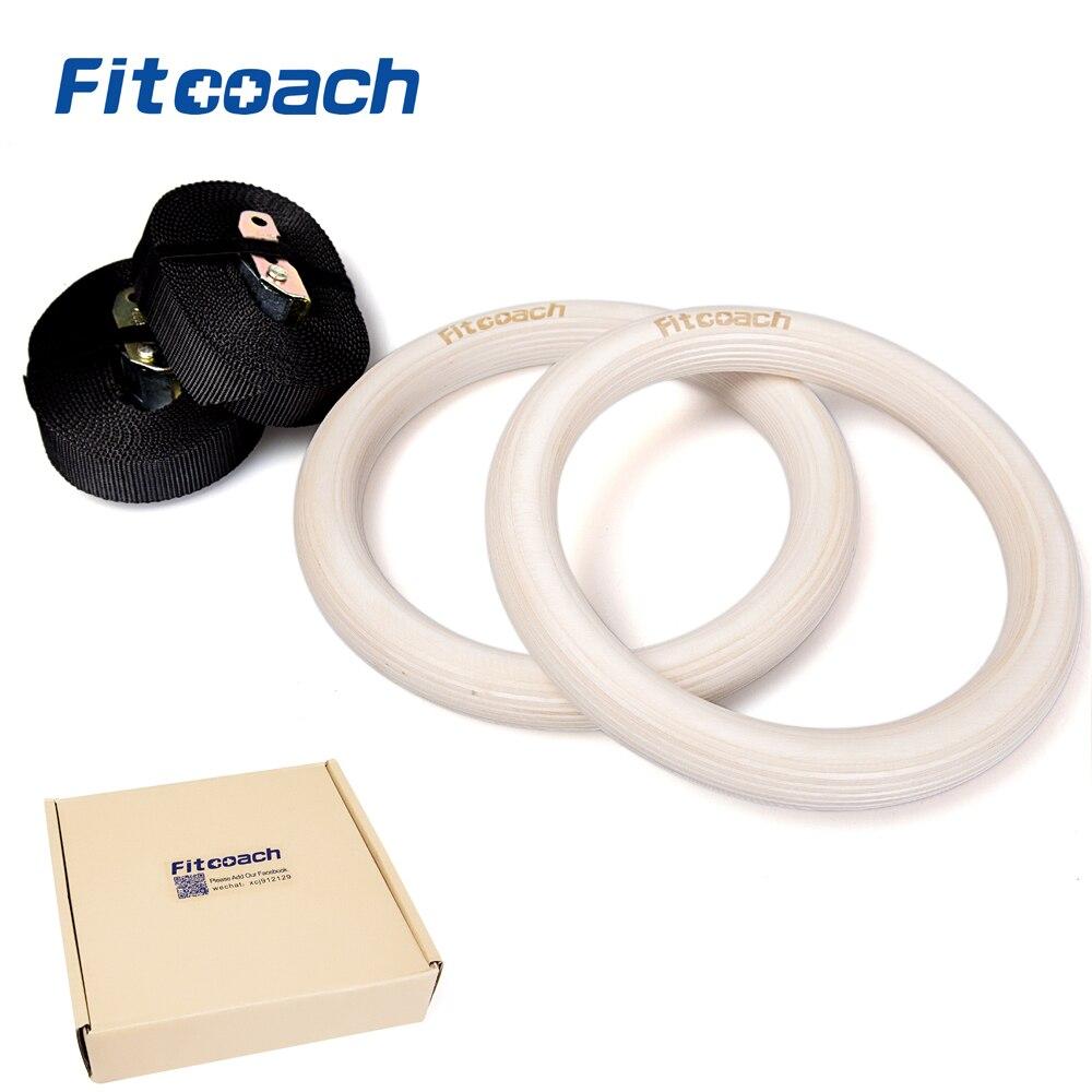 1 Paire En Bois En Bois 28/32mm Portable Anneaux de Gymnastique Fitness À Domicile Gym Crossfit Musculation