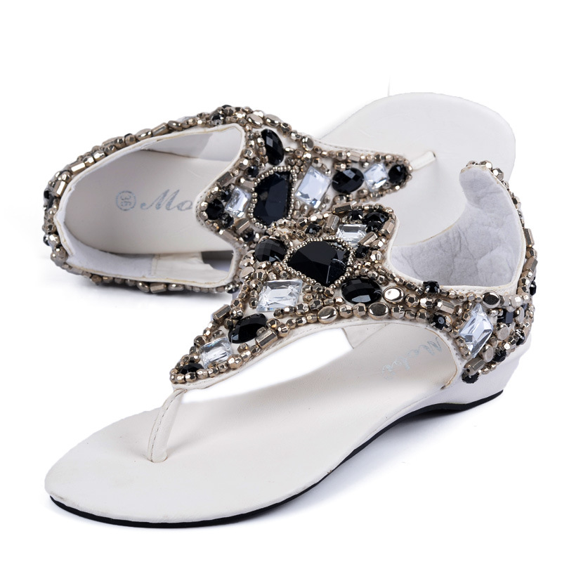 Detail Feedback Questions about famous brand big rhinestone sandalia  feminina black white leather sandals women silver beading crystal sandals  summer shoes ... f31703b8d033