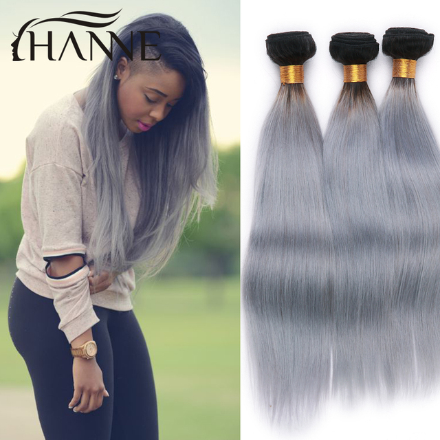 Indian Straight Ombre Hair 1b Light Grey Hair Weave 4 Bunldes Ombre