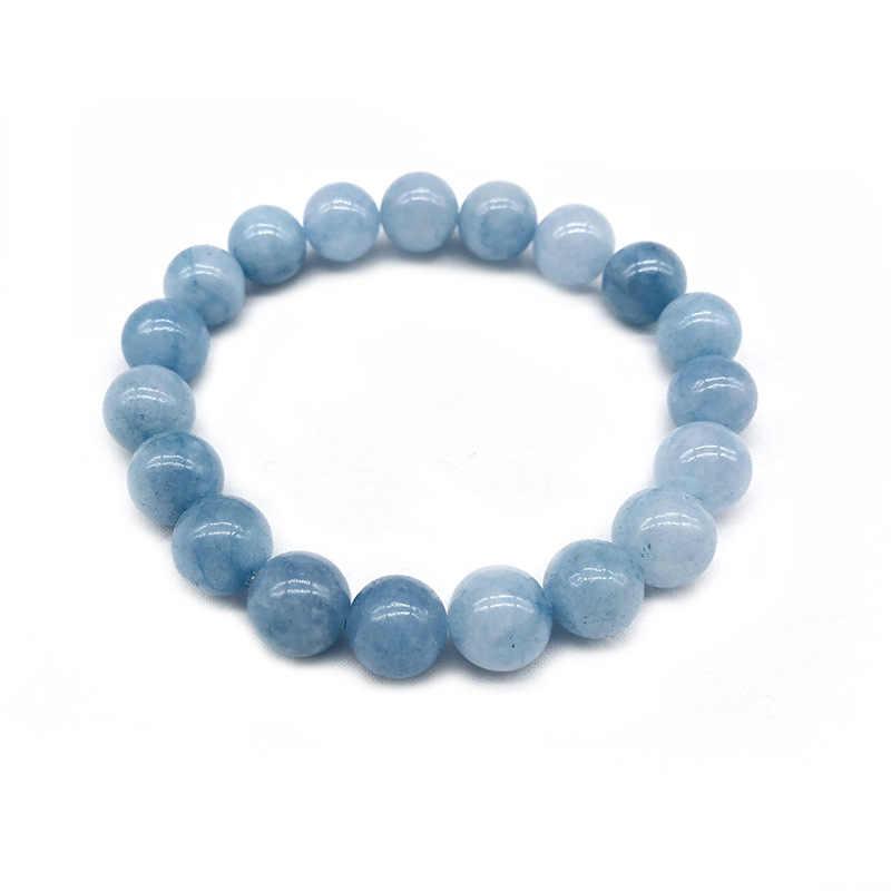 טבעי 4/6/8/10/12mm כחול Aquamarin Agat אבן עגול חרוז אנרגיה אבן ריפוי כוח עבור תכשיטי שרשרת צמיד ביצוע