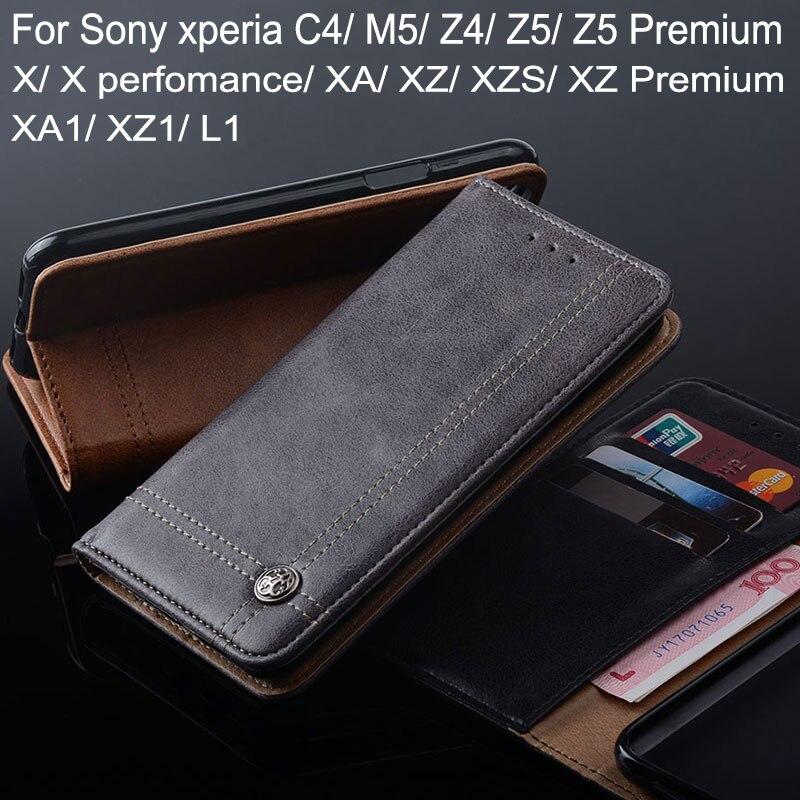 Custodia per Sony xperia C4 Z4 Z5 M5 X XA XA1 XZ1 XZS XZ premium Luxury Vibrazione del Cuoio Del Basamento della copertura Slot Per Schede Cassa del telefono Senza magnete