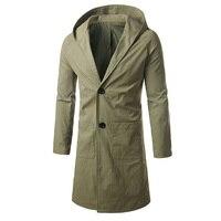 왼쪽 ROM 새로운 퓨어 컬러 후드 남성 긴 재킷 패션 비즈니스 남성 코트