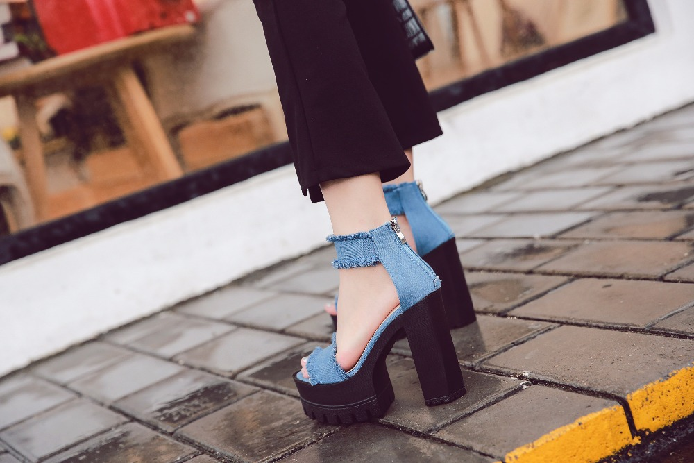 Women Ankle Strap Sandals Denim Platform Pumps Thick High Heel