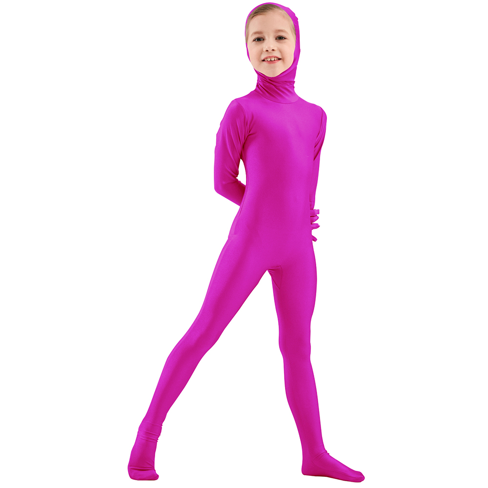 AOYLISEY Boys Face Open Black Zentai Suits One Piece Tights Full Body Zentai Spandex Girls Cosplay Halloween Costume For Kid