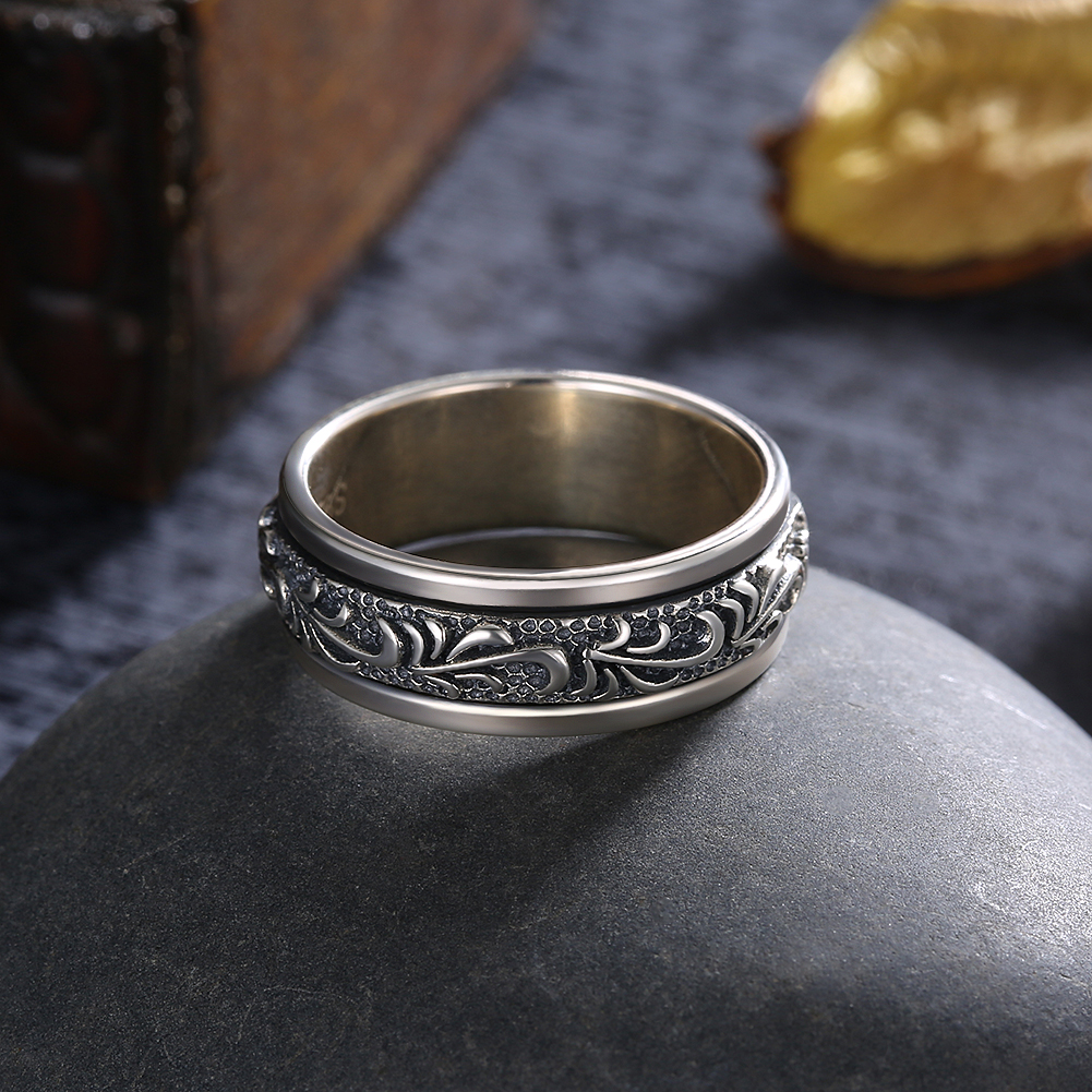 GOMAYA 925 Sterling Silver Rings Carving Flower Gothic Vintage Rock Punk Cocktail Fine Jewelry for Men and Women Anillos in Rings from Jewelry Accessories