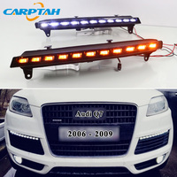 LED Daytime Running Light For Audi Q7 2006 2007 2008 2009 Plug and Play 12V Yellow Turn Signal Indicator Light Front Bumper Lamp