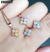 Natural Fire Opal Gemstone Jewelry Sets Genuine Sets Solid 925 Sterling Silver Precious stone Woman Prom