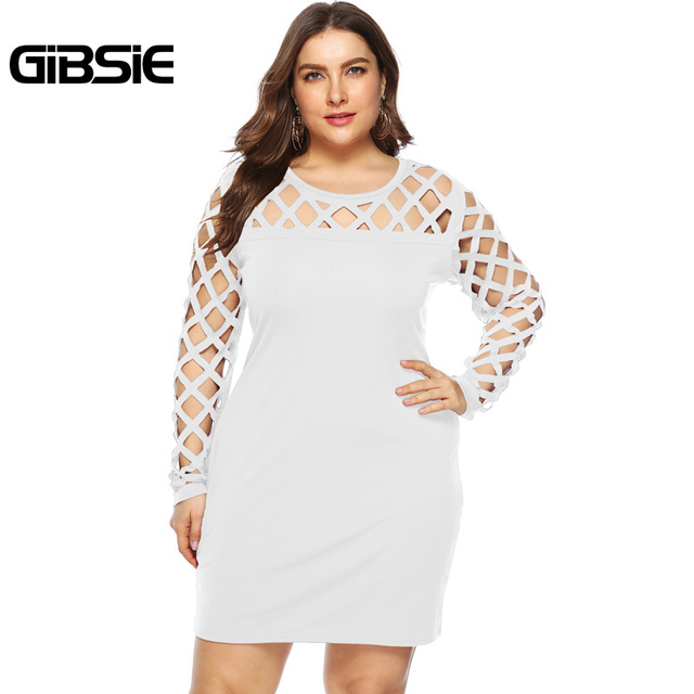 GIBSIE Plus Size Sexy Hollow out Party Bodycon Mini Dresses Women Black White Wine Red O-Neck Long Sleeve Club Sheath Dress 5