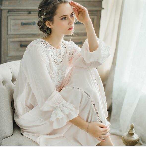 b2758e1a46 Women SLeepwear Cotton Nightgown Casual Sleepwear Ladies Royal Vintage  Night wear White Nightdress Comfortable clothes for