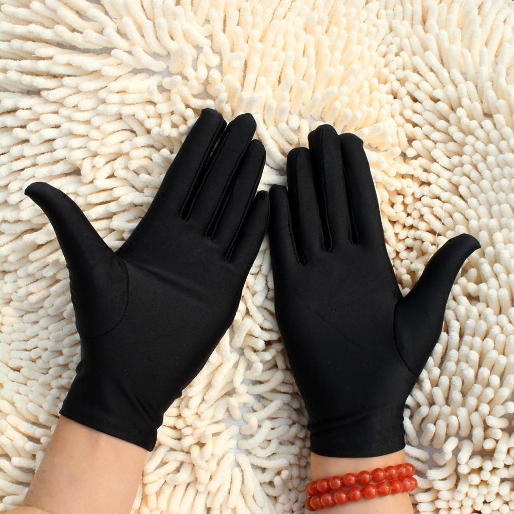 1Pair Men Black White Sun Protection Short Gloves Etiquette Thin Stretch Spandex