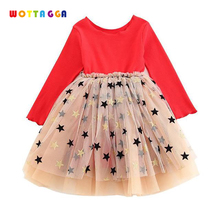 WOTTAGGA 2019 Princess Dress Girls Star Spring Party Dresses For Childrens Costume Teenager Prom Designs