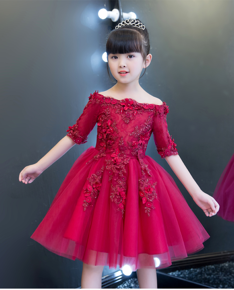 2017 Red Tulle Shoulderless Flower Girls Dresses For Wedding Appliques Formal Girl Birthday Party Dress Princess