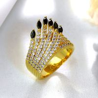 Trending Styles Anillos For Ladies Crystal Clear And Jet Black Color High Quality Cubic Zircon Bague