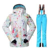 GSOU зимняя Лыжная куртка + брюки женские Сноубординг костюмы Супер Водонепроницаемый дышащая лыжный костюм женский отправить DHL3 10