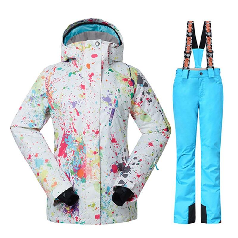 GSOU SNOW Winter Ski Jacket+Pants Womens Snowboarding Suits Super Waterproof Breathable Ski Suit Female send DHL3-10 gsou snow womens outdoor ski pants high waist denim skiing pants female snowboarding pants thickening windproof waterproof warm