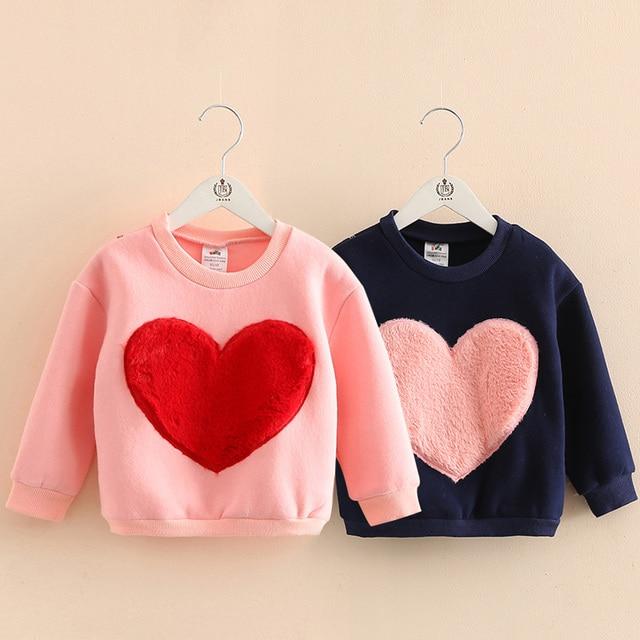 Top quality 2-10Years girls warm sweater Jacket Love patterns for kids Winter Autumn Children's Sweatshirts 100% Cotton Moletons