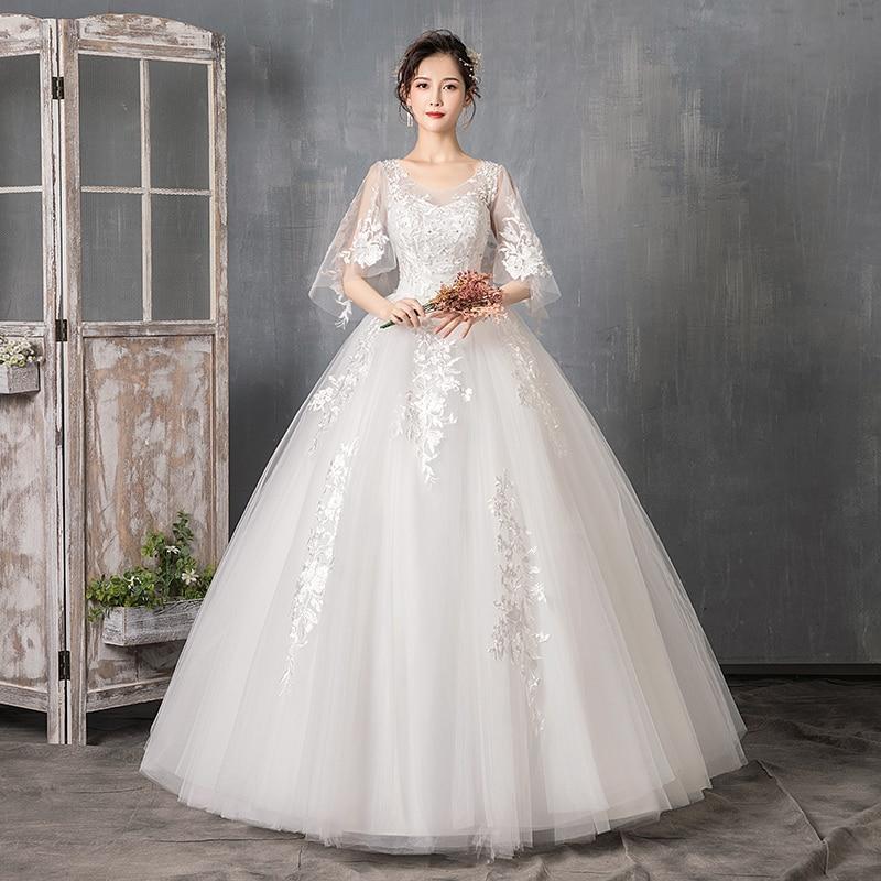 2019 New Simple O Neck Pregnant Woman Wedding Dress Lace Applique Floor Length Plus Size Ball Gown Robe De Mariee L