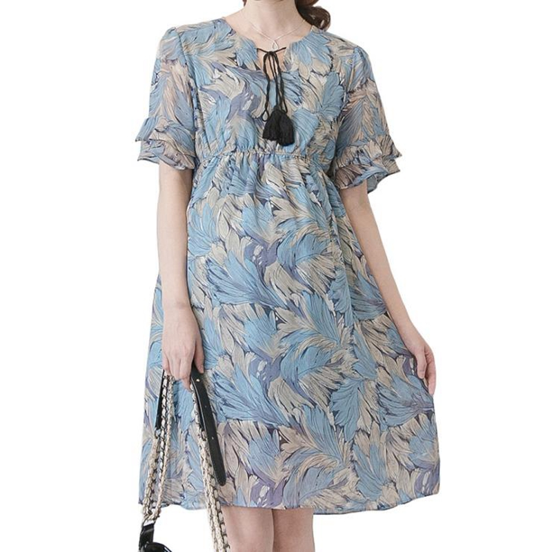 Summer New Maternity Dresses Chiffon Floral Hemrel Sleeves Pregnancy Casual Dresses Pregnancy Dresses Elegant maternity dresses