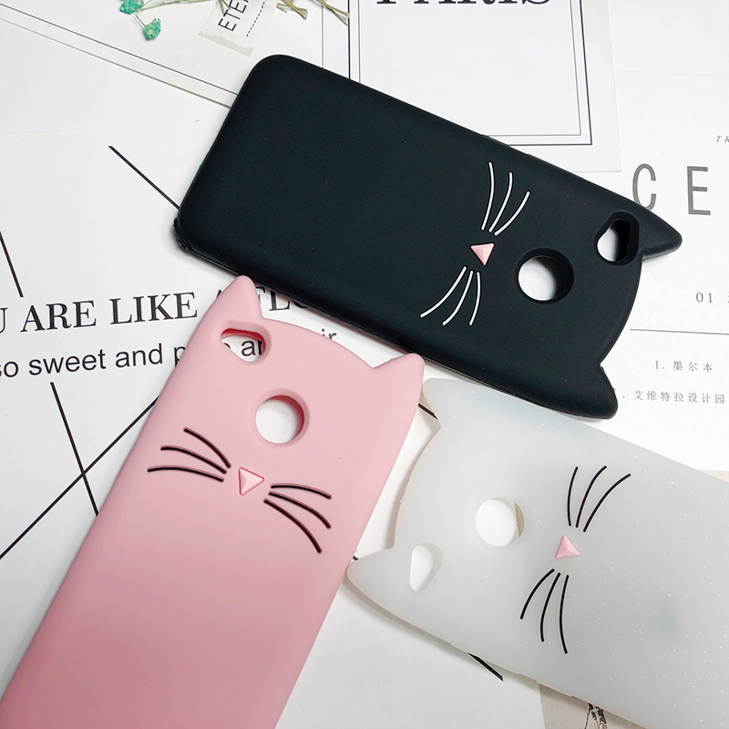 3D Cute Cat Case Squishy Phone Case Lovely Soft Cat Cases For Xiaomi Redmi Note 3 4 4X 4A 5A 5 Pro Cover Coque