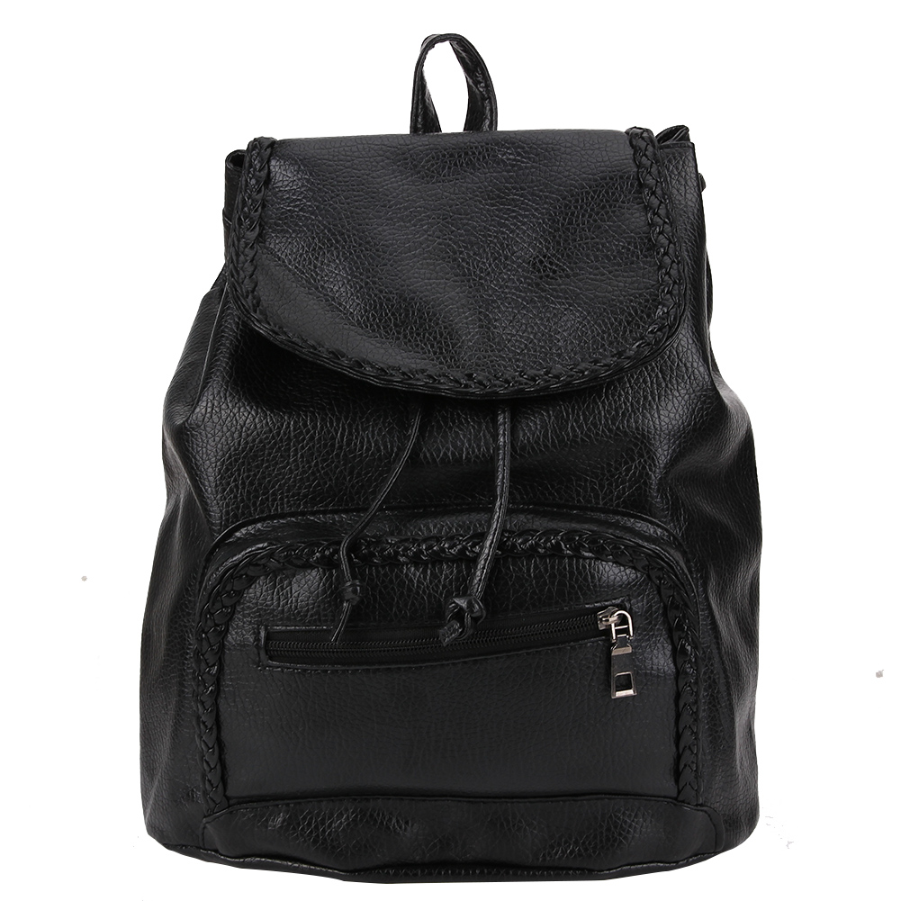 Vintage Women PU Leather Backpack Retro Preppy Chic School Bag Black Casual Bagpack Bags Leisure