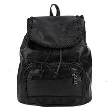 Винтаж женщин искусственная кожа рюкзак ретро опрятный chic мешок школы черный случайный bagpack сумки отдыха и путешествий сумка back рюкзак