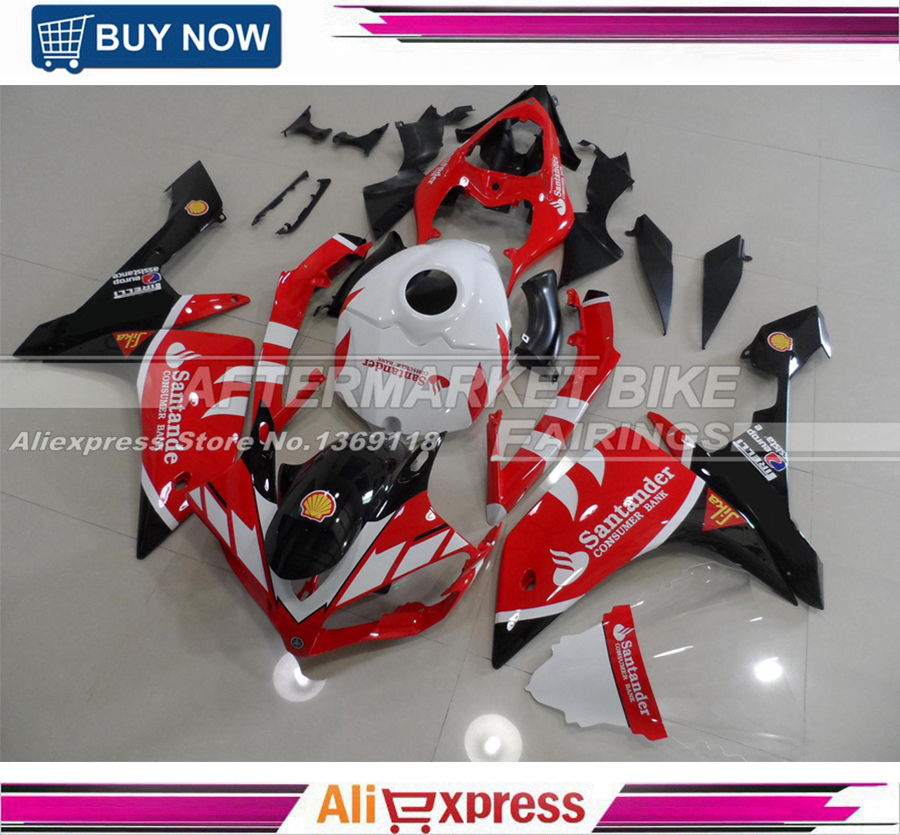 Injection Fairings For Yamaha YZF R1 07 08 YZF-R1 2007 2008 ABS Plastic Motorcycle Full Fairing Kit SANTANDER RED AND BLACK high quality motorcycle injection mold factory fairings kit for yamaha yzfr1 2007 2008 yzf r1 07 08 white red body fairing parts