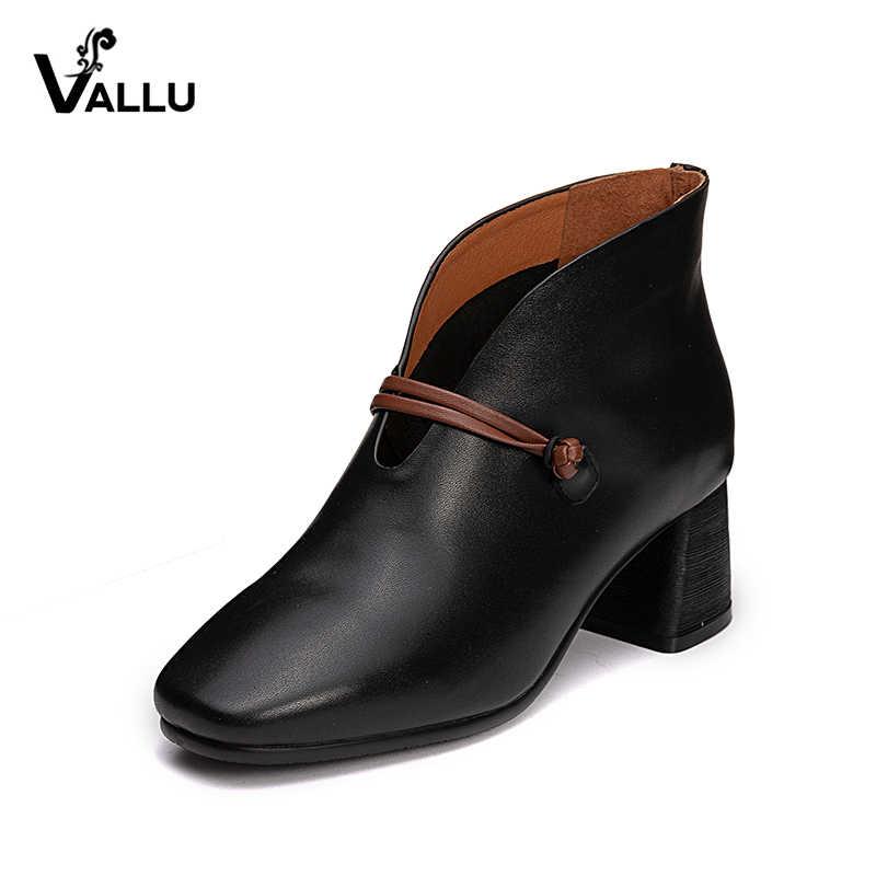 VALLU Vintage kobiety buty wysokie obcasy kwadratowe palce skóra bydlęca blok obcasy damskie pompy 2018 jesień nowy nabytek