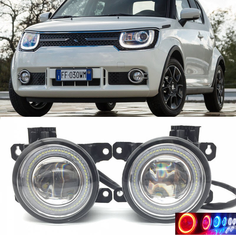 2 in 1 LED Angel Eyes DRL 3 Colors Daytime Running Lights Cut-Line Lens Fog Lamp for Suzuki Ignis 2016 2017 car styling 2 in 1 led angel eyes drl daytime running lights cut line lens fog lamp for land rover freelander lr2 2007 2014
