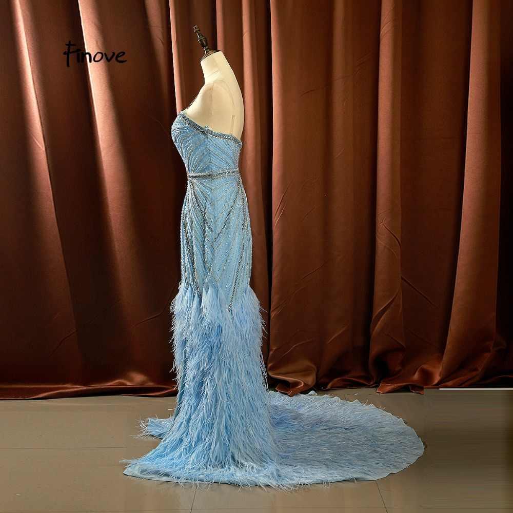 Finove 2020 בת ים שמלת ערב חדש אופנתי כחול סקסי מתוק ואגלי נוצות מקיר לקיר אורך פורמליות המפלגה שמלת שמלות