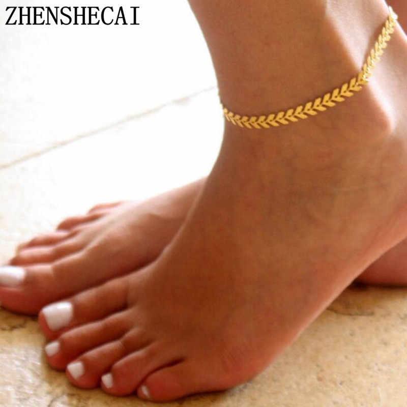 Oro della boemia di Colore Freccia Gamba Braccialetto per le Donne Dell'annata Yoga Cavigliera Spiaggia di Stile di Estate Sandali Spose Scarpe A Piedi Nudi