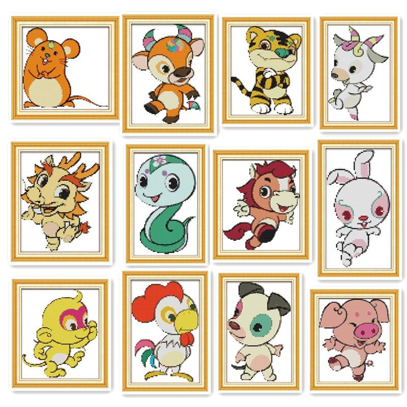 Zodiac Cartoon Animal Small size Child Student Simple Classi diy Embroidery Cross stitch Kit Puppy Chicken Monkey Pony Map