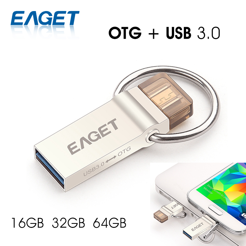 EAGET V90 USB Flash Drive USB 3.0 16GB 32GB 64GB Micro USB OTG Pendrive U Disk USB Storage Stick For Samsung Android Phone PC