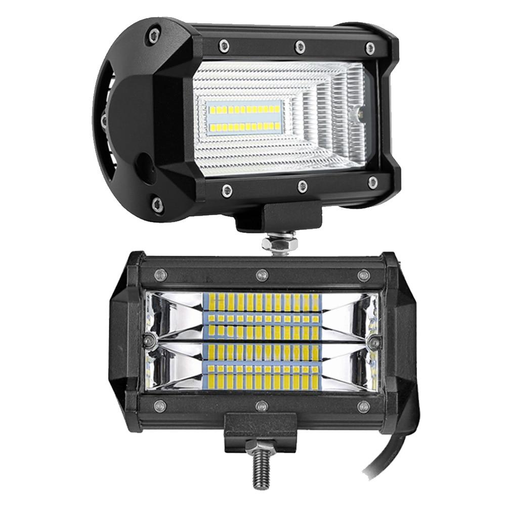 5 pouces 72 w LED light bar spot flood faisceau de Route lampe de travail pour Off Road auto 4WD 4x4 UAZ SUV moto rampe 12 v 24 v voiture brouillard lampe