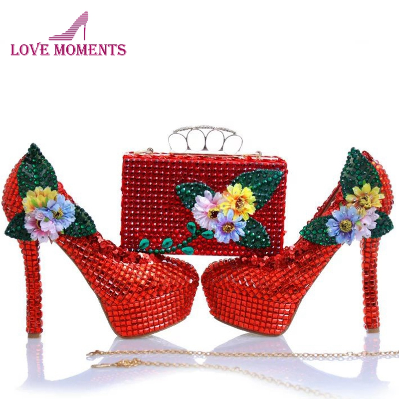 Red Rhinestone Wedding Shoes with Finger Clutch Gorgeous Red Bridal Dress Shoes with Matching Purse Mother of the Bride Shoes the new 2017 diamond red bride wedding shoes pointed the bride wedding toast with velvet like shoes fashion